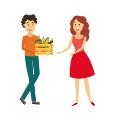 flat man giving vegetable box to woman vector image