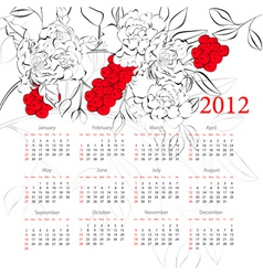 floral calendar 2012 vector image