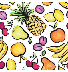 Fruits pattern abstract watrcolor seamless vector