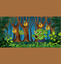Goblin in the dark forest vector