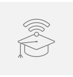 Graduation cap with wi-fi sign line icon vector