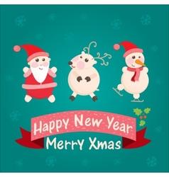 greeting card with Santa Claus snowman vector image