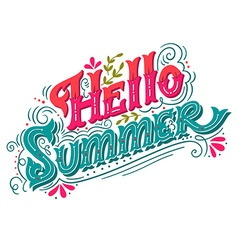 Hello summer Hand drawn vintage lettering with vector image