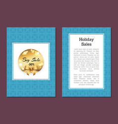 holidays sale banner cover back page golden label vector image