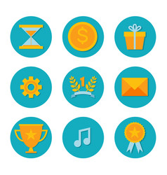 Icons with flat design elements of game objects vector