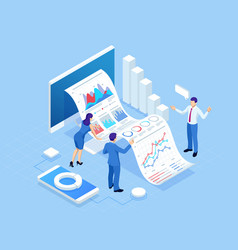 Isometric concept of business analysis analytics vector