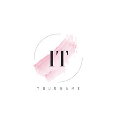 it i t watercolor letter logo design with vector image