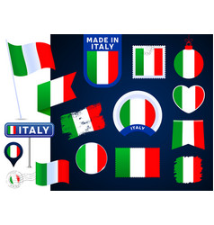 italy flag collection big set national flag vector image