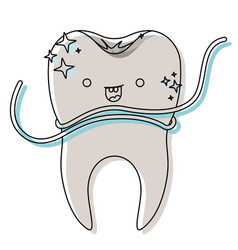 kawaii tooth with root and dental floss around in vector image