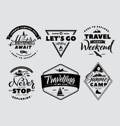 Labels set of adventure and nature explore vector