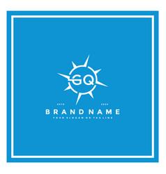 Letter gq compass logo design vector