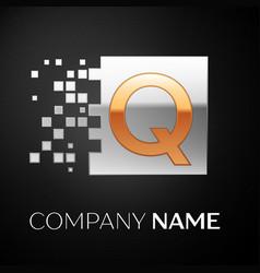 letter q logo symbol in the golden-silver square vector image