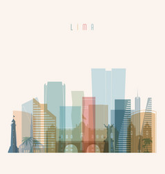 lima skyline detailed silhouette vector image