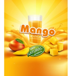 Mango a glass of juice slices of vector