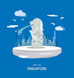 Merlion landmark and tourist attraction in vector