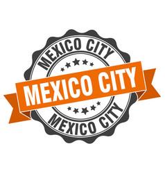 mexico city round ribbon seal vector image