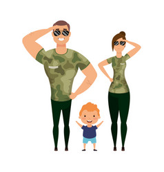 Mother father and son with camouflage tshirts and vector