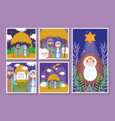 Nativity happy merry christmas cards vector
