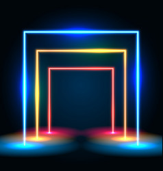 neon glowing lines tunnel abstract background vector image