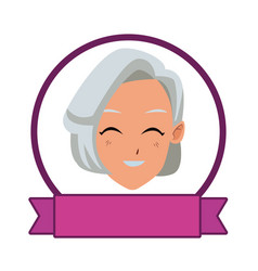 Old woman smiling and happy cartoons vector