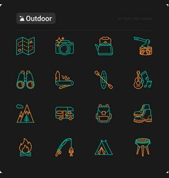 outdoor thin line icons set vector image