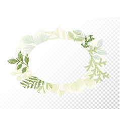 Oval border with branches and leaves decoration vector