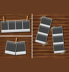 picture frames on brown wooden wall vector image