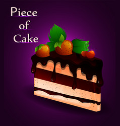 piece of tasty cake with strawberries sweet food vector image vector image