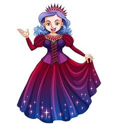 Queen in beautiful red dress vector