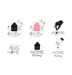 real estate housing logotype design collection vector image