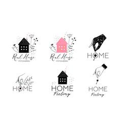 Real estate housing logotype design collection vector
