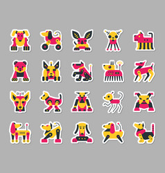 Robot dog patch sticker icons set vector