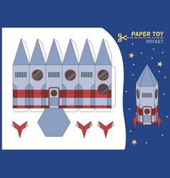 rocket paper cut toy missile 3d paper vector image