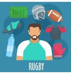 Rugby sport equipment and outfit elements vector image