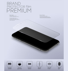 Screen protector glass transparent glass shield vector