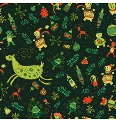 Seamless pattern of bright Christmas items vector image