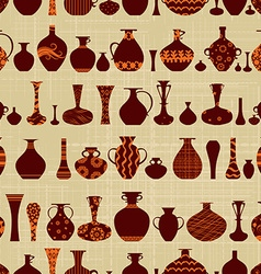 seamless texture with row of variety ethnic vases vector image