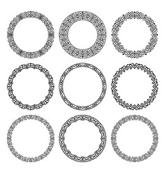 set of round frames in oriental motifs vector image