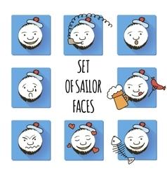 Set of Sailor Faces Smiles Fun vector image