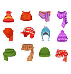 set of winter scarfs and caps with different vector image