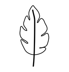 Sketch contour of wavy leaf plant with a branch vector