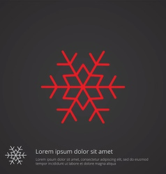 snowflake outline symbol red on dark background vector image