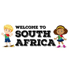 South African boy and girl greeting vector image