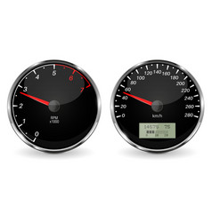 speedometer and tachometer black 3d vehicle vector image