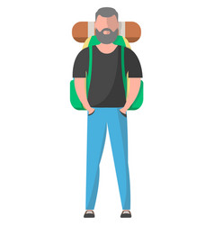 Standing hiker with backpack vector