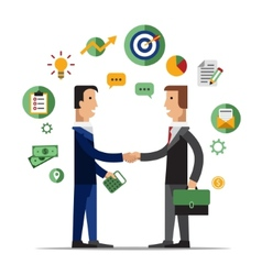 Successful partnership business people vector