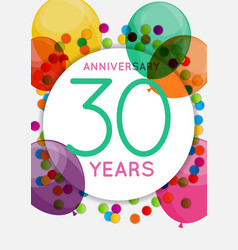 template 30 years anniversary congratulations vector image