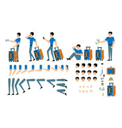 tourist male character creation set - isolated kit vector image