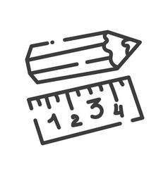 trendy line style icon about sewing toys - pencil vector image