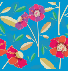 vibrant hand drawn poppies seamless pattern vector image